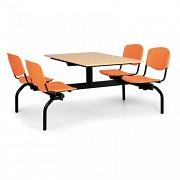 stoly do školní jídelny Biedrax JS3840B - oranžová plastová sedadla, deska buk