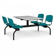stoly do školní jídelny Biedrax JS3843S - zelená plastová sedadla, deska šedá