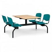 stoly do školní jídelny Biedrax JS3843B - zelená plastová sedadla, deska buk
