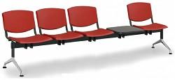Plastová lavice do čekáren Smile Biedrax LC9982CV - podnož leštěný hliník