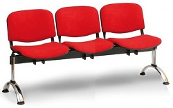 Čalouněná lavice do čekáren Viva Biedrax LC9376CV - podnož chromovaná