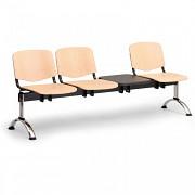 Dřevěná lavice do čekáren ISO Biedrax LC9747 - podnož chromovaná